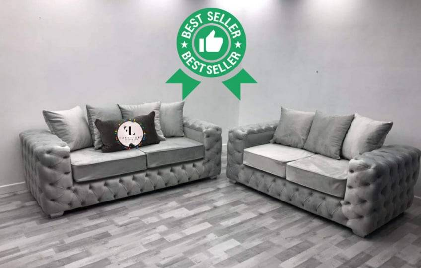 Italian Ashton 3+2 Seater Sofa Sofas Colour: Light Grey